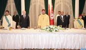 Tunisian president, Moncef Marzouki, hosts at the Presidential palace of Carthage in Tunis, a dinner banquet in honor of HM King Mohammed VI