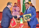HM King Mohammed VI and President of the Republic of the Congo, HE. Denis Sassou N'Guesso, chair at the People's Palace in Brazzaville the signing ceremony of several bilateral cooperation agreements in various fields