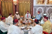 HM King Mohammed VI offers at the Royal Residence in Salé an Iftar in honour of President of the Republic of Gabon, HE. Ali Bongo Ondimba, and Chaiperson of the African Union Commission (AU), Moussa Faki Mahamat