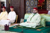 HM King Mohammed VI, Commander of the Faithful, chairs at the Rabat Royal Palace the first religious lecture of the holy month of Ramadan