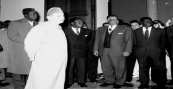 HM the king Mohammed V receiving africans leaders of liberation mouvements African Summit Casablanca, 1961