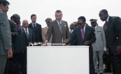 HM King Mohammed VI and President Omar Bongo put the cornerstone for building social housing Project - Libreville, 2004
