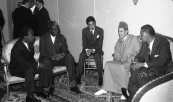 HM the king Mohammed V receiving the president of guinea M. Ahmed Sékou Touré and the president of ghana M. kwame nkrumah - African Summit Casablanca, 1961