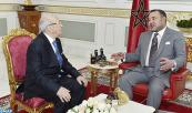 "HM King Mohammed VI receives at the Royal residence in Tunis, Beji Caid Sebssi, president of Tunisian political party ""Nidae Tounes"""