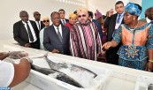 "HM King Mohammed VI and president of the Republic of Côte d'Ivoire, H.E. Alassane Ouattara, inaugurate the ""Mohammed VI"" fishing unloading site of Locodjro (Attécoubé commune)"