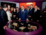 "HM King Mohammed VI and French President François Hollande visit the exhibition ""Treasures of Islam in Africa, from Timbuktu to Zanzibar"""